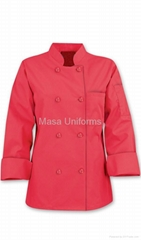 Basic Womens pink Chef Coats - Pearl Buttons - 65/35 Poly/Cotton ,chef clothes