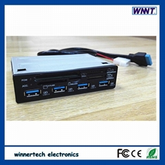 3.5'' PC bay docking with 9 ports USB 3.0 Hub with power adapter