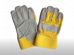 cow split leather working glove