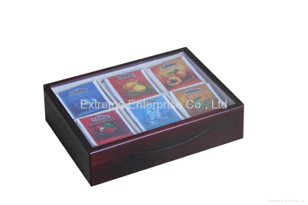 Finest Felt Lined Tea Wooden Chests with Glass Window 1