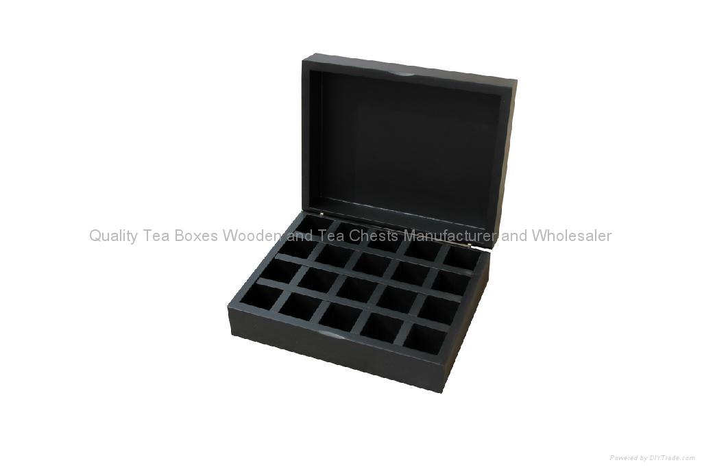 Black Compartment Tea Chest Wood 1