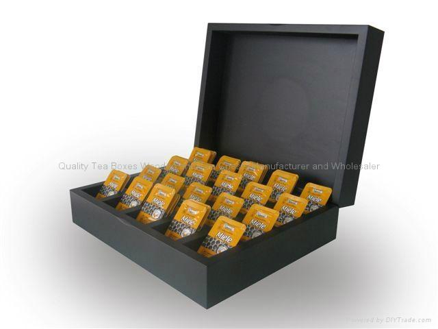 Black Compartment Tea Chest Wood 3