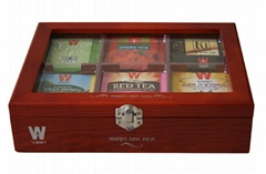 Rich Cherry Finished Wooden Tea Packaging Boxes with Glass Window