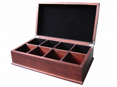 Black Wiped Wooden Tea Chest Box and Display Holder