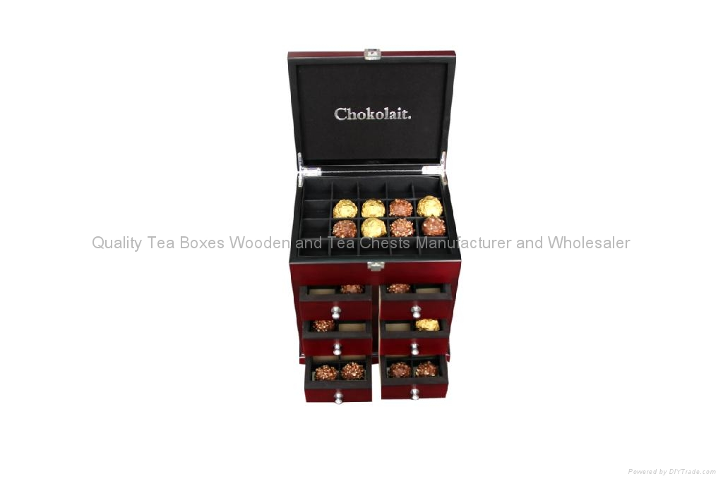 Rich Mahogany Finished Wooden Boxes with drawers for Chocolates 1