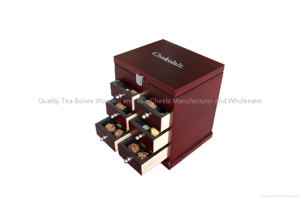 Rich Mahogany Finished Wooden Boxes with drawers for Chocolates 3