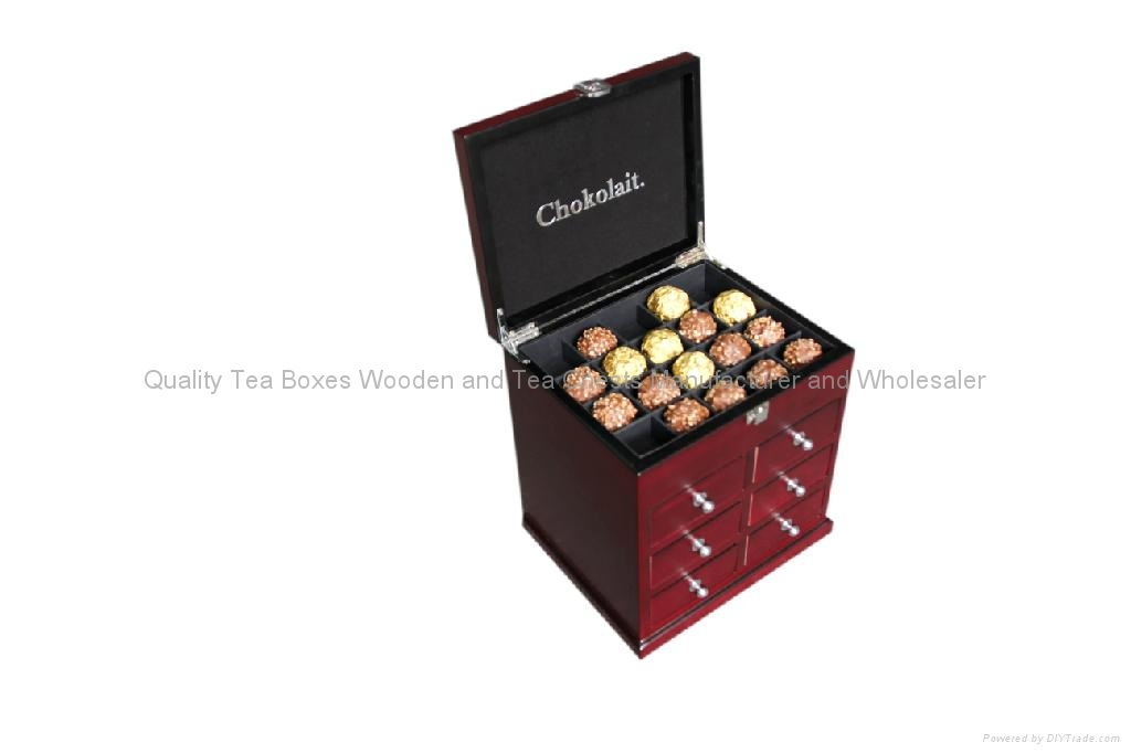 Rich Mahogany Finished Wooden Boxes with drawers for Chocolates 4