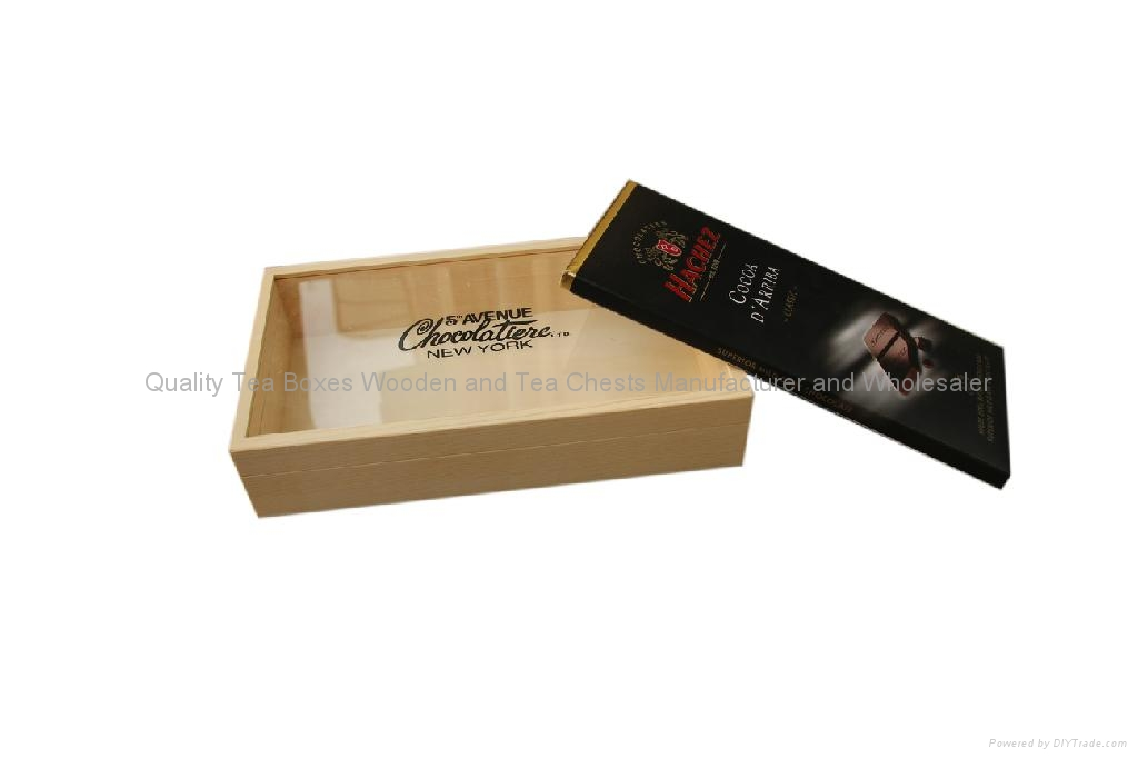 Finest Chocolate Wooden Packaging Box with Glass Window 1