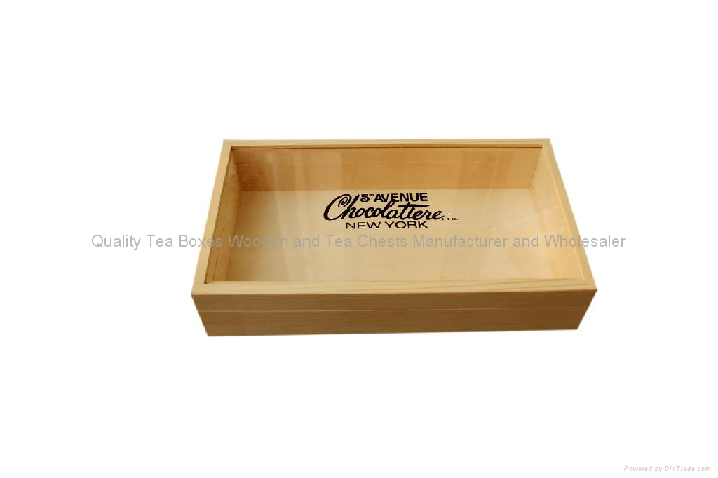 Finest Chocolate Wooden Packaging Box with Glass Window 3