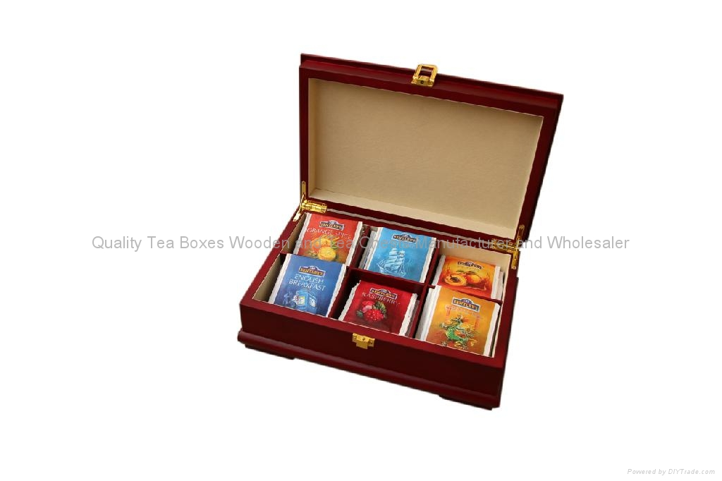 Rich Mahogany Compartment Wooden Tea Gift Packaging Storage Boxes and Display 1