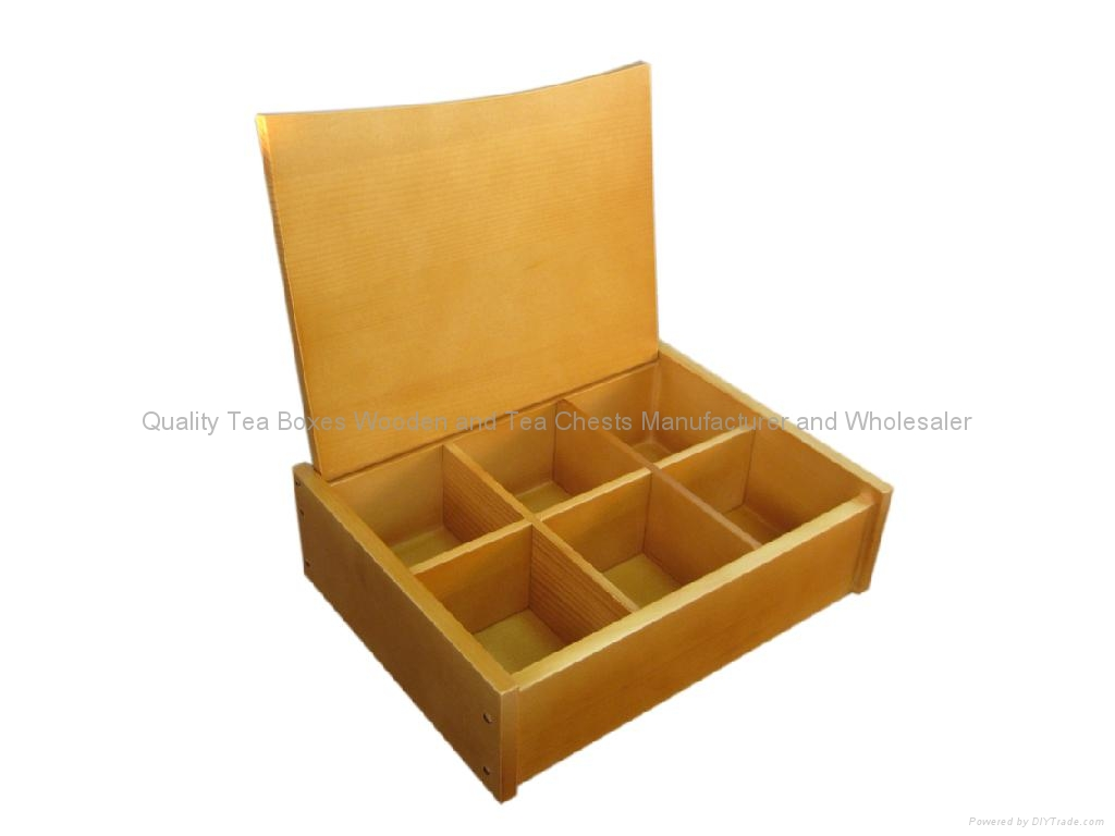 Light Brown Finished Wooden Tea Box With Six Compartments 1