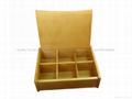 Light Brown Finished Wooden Tea Box With Six Compartments 2