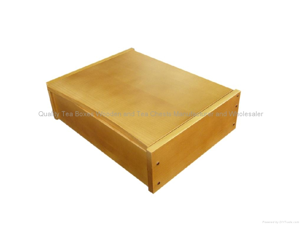 Light Brown Finished Wooden Tea Box With Six Compartments 3