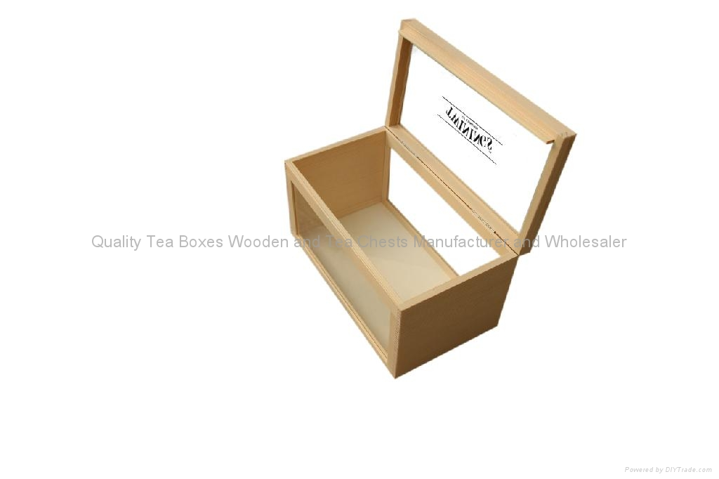 Handmade Wooden Tea Boxes with Clear Top 1