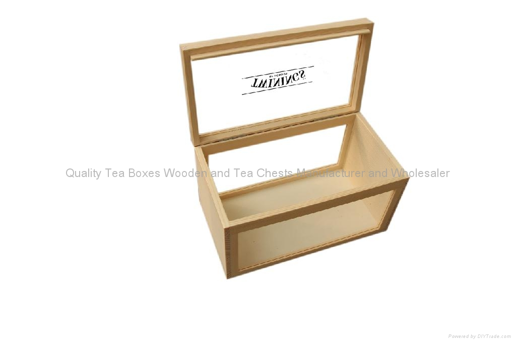 Handmade Wooden Tea Boxes with Clear Top 2
