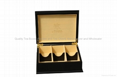 Velvet Lined Six Compartment Wooden Tea Chest