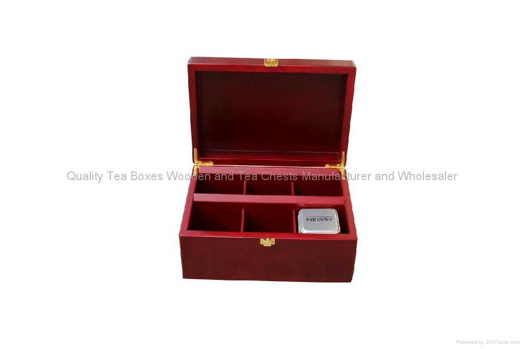 Mahogany Finished Wooden Tea Box for Loose Tea 1