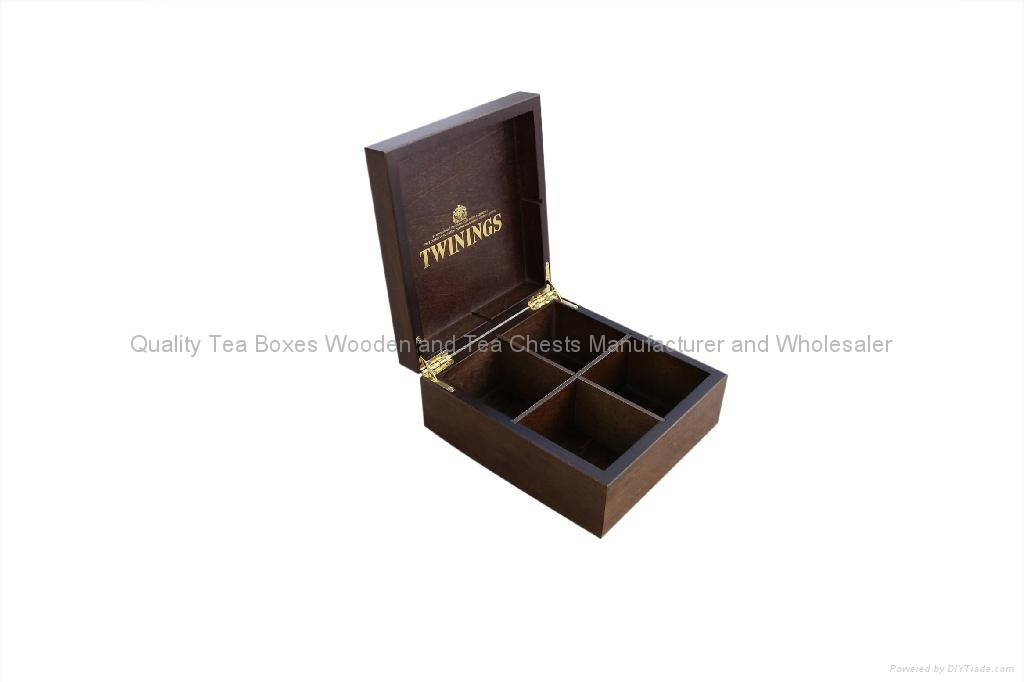 Luxurious and Exclusive Dark Wood Finshed Twinings Tea Caddy 1