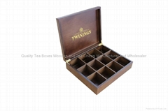 Handcrafted Dark Wood Finished Compartment Tea Storage Display Boxes
