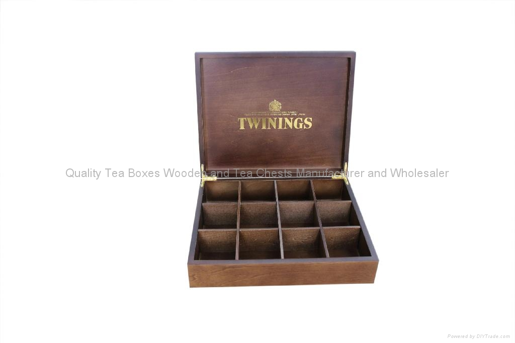 Handcrafted Dark Wood Finished Compartment Tea Storage Display Boxes 2