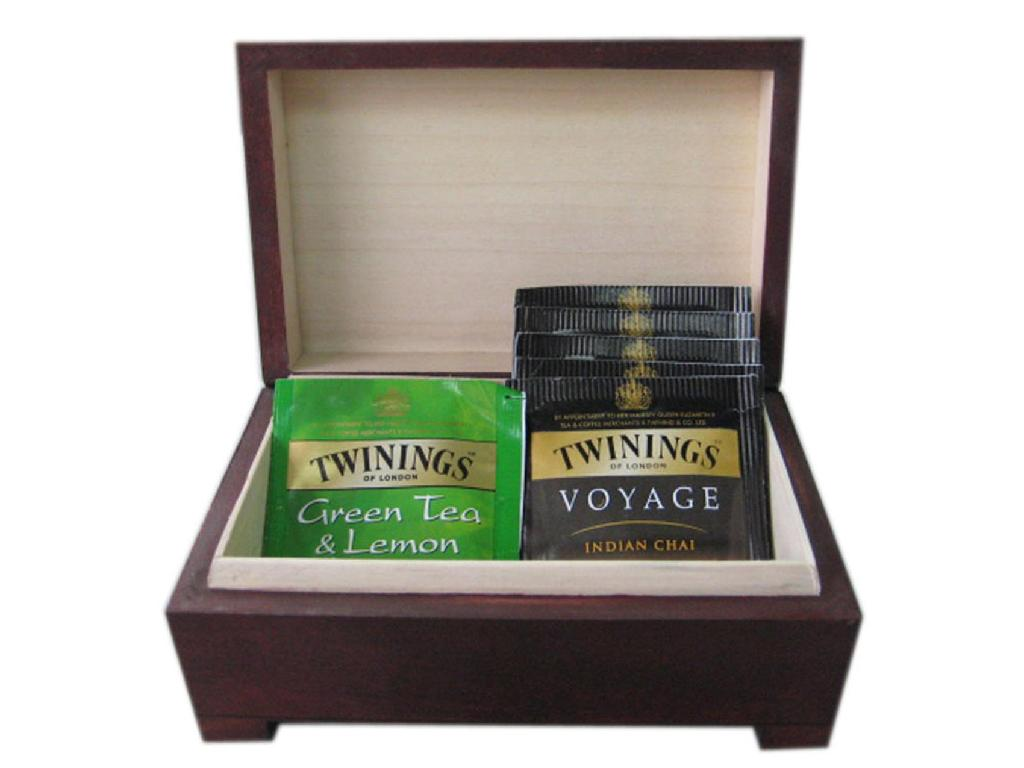 Small Luxuary Brown Wiped Wooden Tea Gift  Box 1