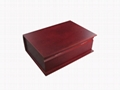 Rich Mahogany Book Shaped Wooden Tea Chest