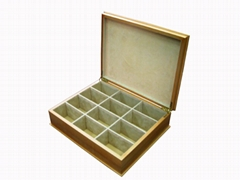Large Beige Felt Lined 12 Compartment Wood Tea Chest Box