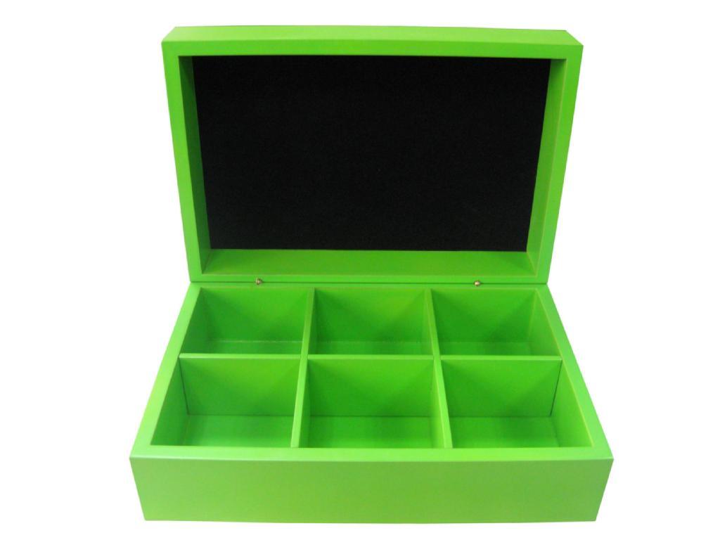 Felt Lined Wooden Compartment Tea Box 1