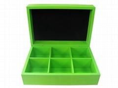 Felt Lined Wooden Compartment Tea Box