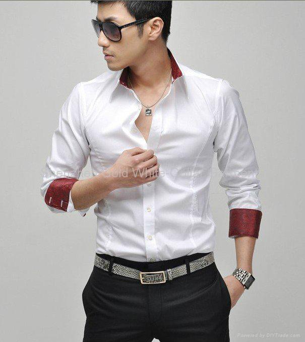 new fashion popular men's long sleeve fit business shirt  1