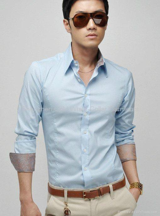新款男式长袖商务衬衫 3