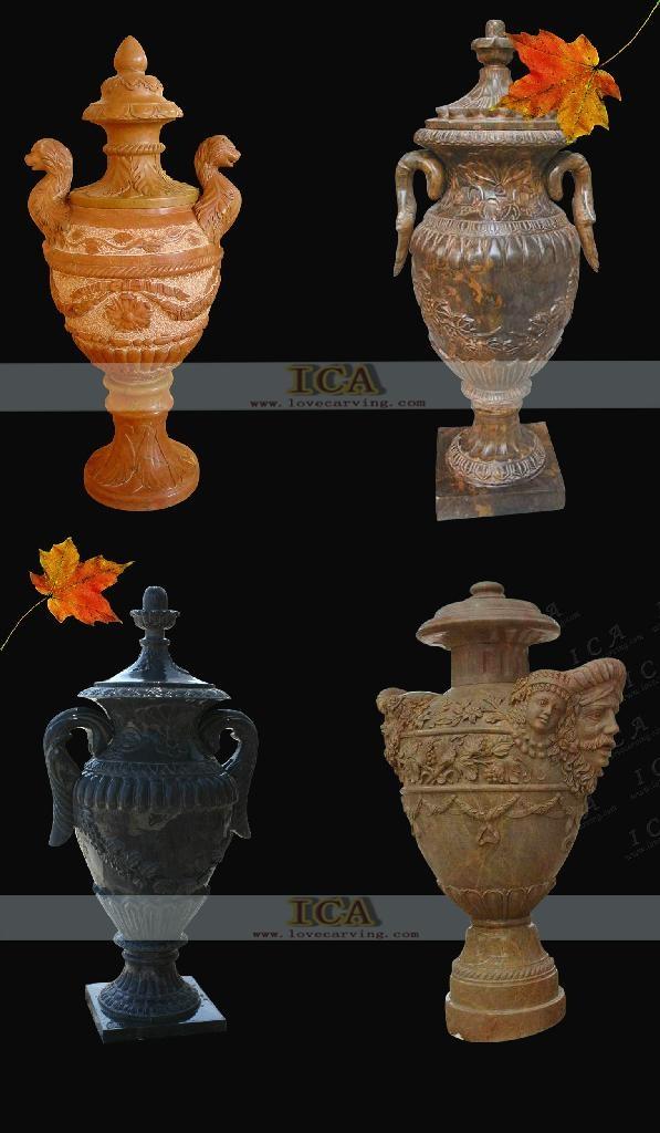大理石雕刻-傳統花盆 1