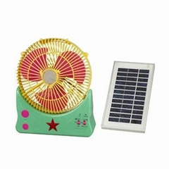 9 Inches Multifunction Solar-powered Cooling Fan with LED Light, Solar Panel and
