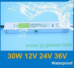 30W Waterproof LED Power Supply,Led driver for LED Strips Constant Voltage