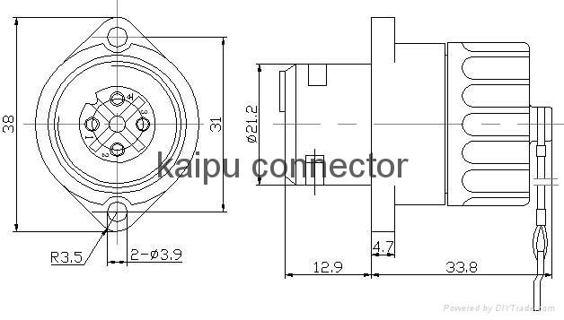 KP32型防水4芯母插座-UL认证 13