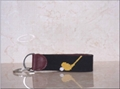 Golf Tee Needlepoint Key Chains with Leather Tab and Si  er Rings 1
