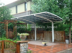 polycarbonate bronze board and aluminum frame car shelter