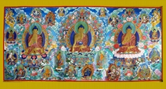 西方三圣藏传佛教热贡唐卡(青海同仁吾屯下寺画僧绘制)