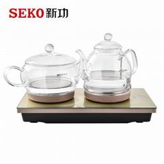W7全自動底部上水電熱水壺茶具玻璃燒水壺家用電茶爐