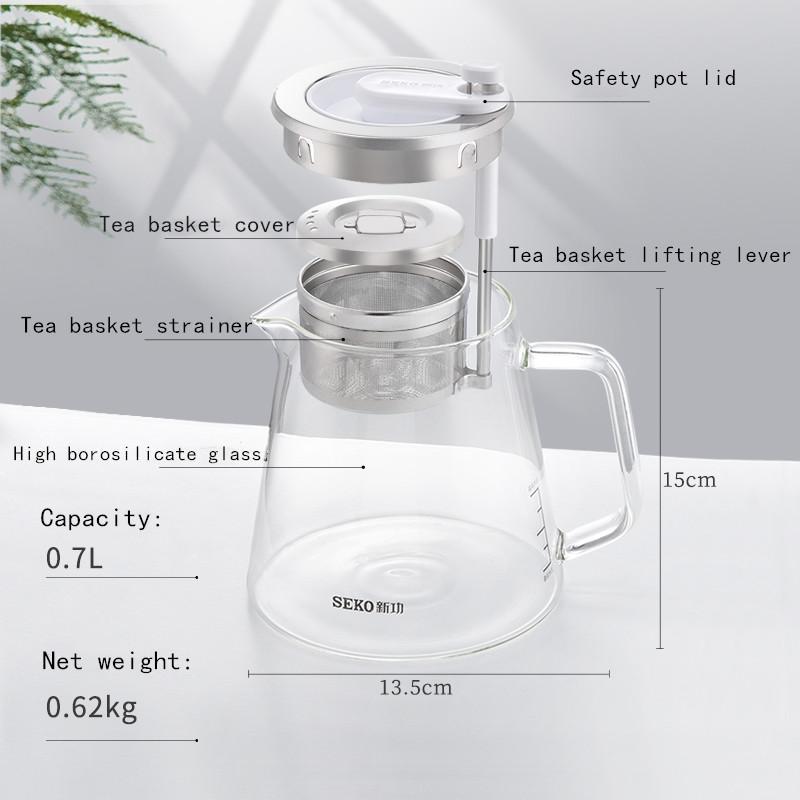 SEKO High Temperature Resistant Kettle Tea Basket automatic rising-lowering Cup 2