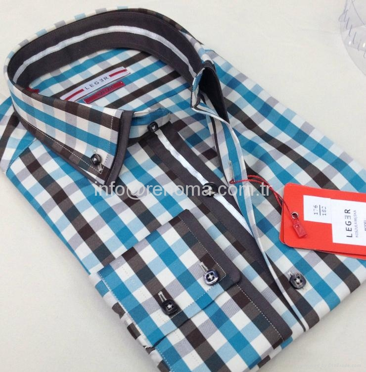 Double collar fashion mens shirts 3