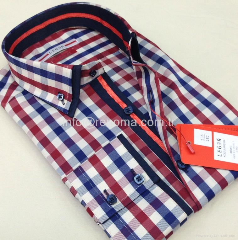Double collar fashion mens shirts 1