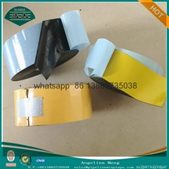 Three ply cold applied tape coated butyl rubber adhesive