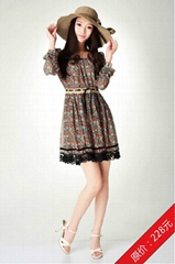 2012雪紡甜美長袖連衣裙蕾絲花邊紅色花