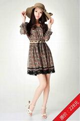 2012雪纺甜美长袖连衣裙蕾丝花边红色花