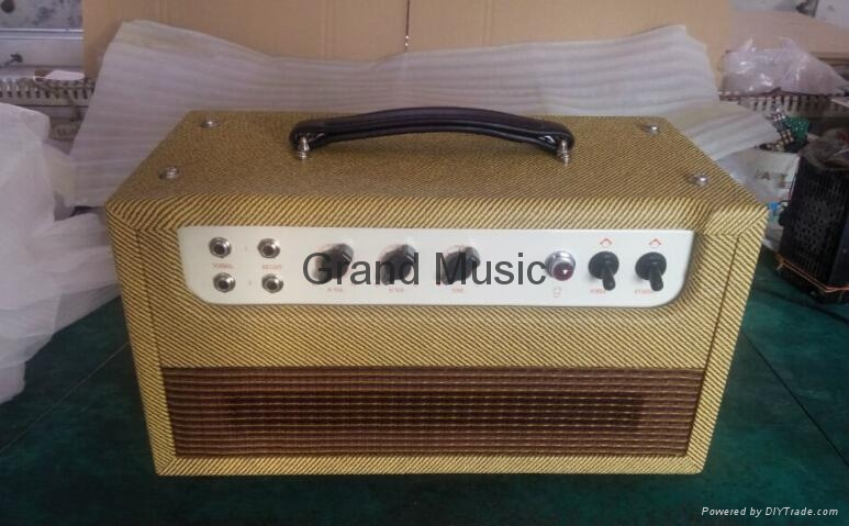 Hand wired all tube guitar amp head, 20W, Fender style tube guitar amp, 20W, handbuilt tube amp, point to point tube guitar amp of Fender style, musical instruments