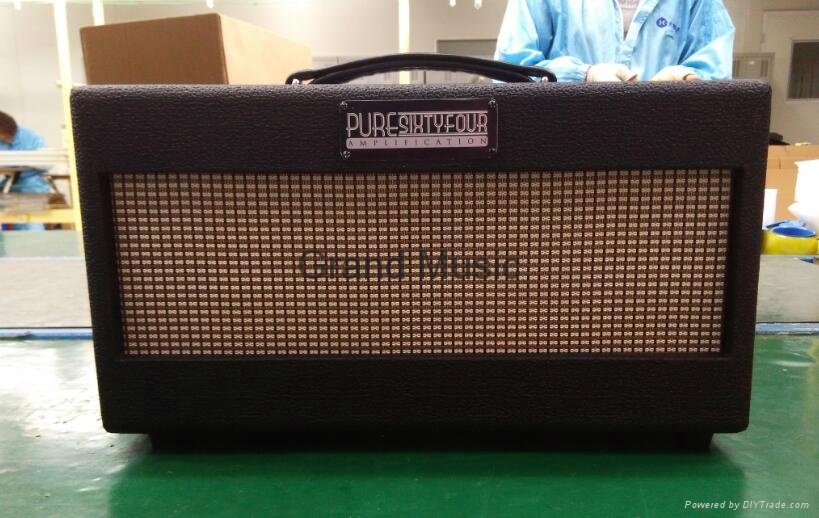 Hand wired all tube guitar amp head with black tolex, Fender silver grill cloth, 20W, Custom hand wired amp head with customers logo plates, custom handbuilt tube amp heads Fender style