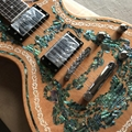 custom LP electric guitar, Abalone Inlay in body chrome hardware electric guitar