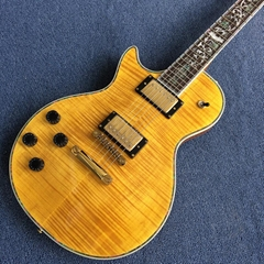 LP 1959 R9 left handed electric guitar, Flame Maple Top, Abalone Flower inlaid
