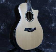 Solid AAA SPruce Real Abalone Inlay Ebony Fingerboard B-Band EQ Acoustic Guitar